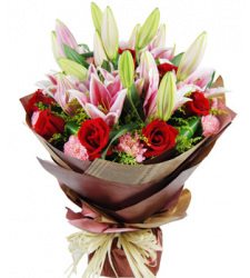 12 carnations,12 roses and 2 stem pink lilies to cebu philippines