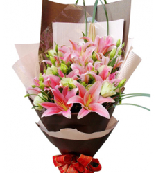 4 stem pink lilies in bouquet to cebu philippines