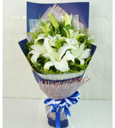 4 stems white lilies in bouquet to cebu philippines