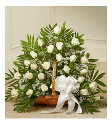 Send Delicate White Roses Basket To Cebu