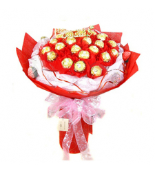 16pcs Ferrero Rocher in a Red Bouquet to Cebu, Philippines