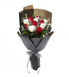 12 pcs red and white roses for christmas