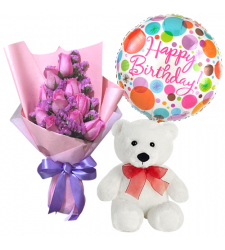 send 12 pink roses with bear and balloon to davao
