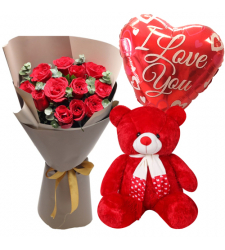 send 12 red roses bouquet with bear and balloon to davao