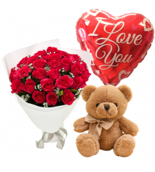 send 24 red roses with brown bear and balloon to davao
