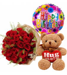 send 24 red roses with bear and mylar balloon to davao