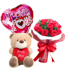 send 12 red roses with bear and mylar balloon to davao