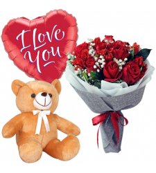 send 12 red roses with cute bear and balloon to davao