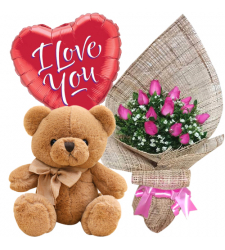 send 12 pink roses with brown bear with balloon to davao