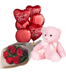send 6 red roses with pink bear with balloon to davao