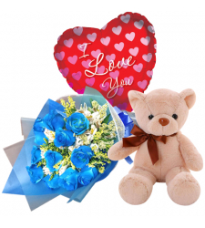 send 12 blue roses with brown bear with balloon to davao