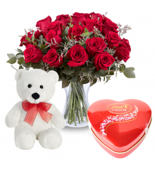 send 12 red rose with teddy and chocolate to davao