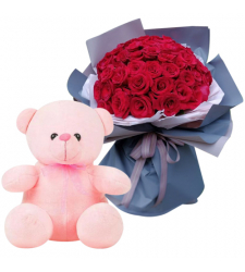 send 24 red rose with teddy bear to davao
