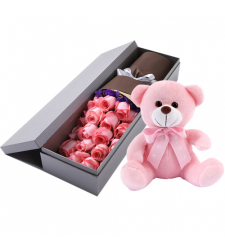 send 24 pink roses in box with bear to davao philippines