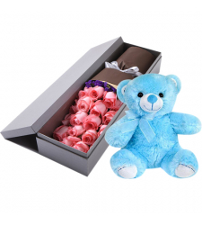 send 24 pink roses with blue teddy bear to davao