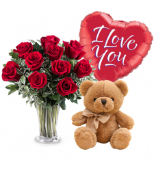 send 12 red roses with balloon and teddy bear to davao