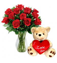 send 12 red roses vase with bear to davao