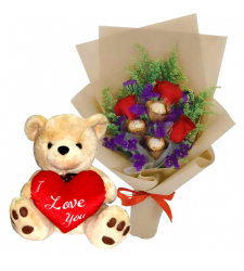 send roses with chocolate in bouquet and bear to davao