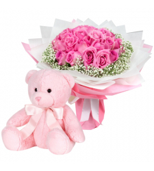 send 2 dozen pink roses with teddy bear to davao