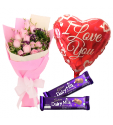 send 12 pink rose with dairy milk and balloon to davao