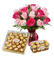 send 12 pink roses vase with ferrero chocolates to davao