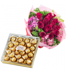 send 12 red roses with ferrero chocolate to davao