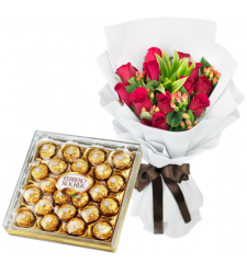 send 12 Red Roses with Ferrero Rocher to davao