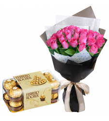 send 24 pink roses with ferrero chocolate box to davao