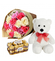 send 1 dozen mixed roses with bear and chocolate to davao