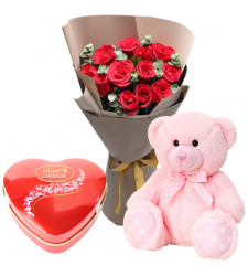 send 1 dozen red roses with teddy and chocolate to davao