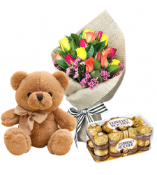 send 12 multi color roses with bear and ferrero to davao