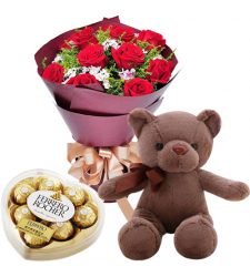 send 12 red roses with brown bear and ferrero to davao