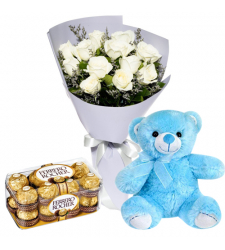 send 12 white roses and blue bear with chocolate to davao