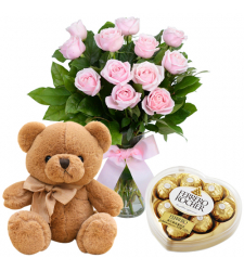 send 12 pink roses with teddy and chocolate box to davao