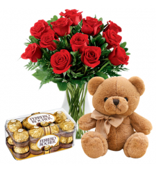 send 12 red roses with bear and chocolate box to davao
