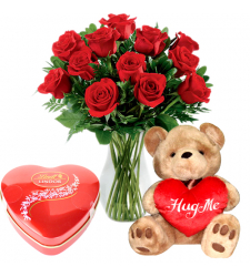 send 12 red roses with teddy bear and chocolate to davao