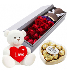 send 24 roses box with white bear and chocolate to davao