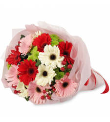 delivery 12 mixed gerberas in bouquet to davao