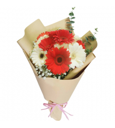 send 15 red and white gerberas in bouquet to davao