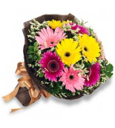 send 9 mixed color gerberas in bouquet to davao