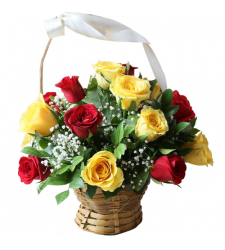 send 12 pcs. red and yellow roses in basket to davao