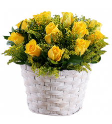 send 1 dozen yellow color roses in basket to davao