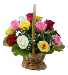 delivery 12 mixed color roses in basket to davao