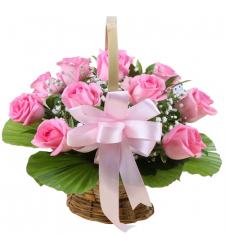 send 1 dozen pink color roses in basket to davao