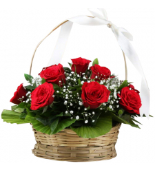 delivery 12 pcs. red color roses in basket to davao