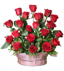 send 2 dozen red color roses in basket to davao
