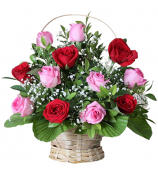 send dozen of red and pink roses in basket to davao