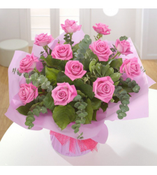 online delivery 12 pink roses in basket to davao