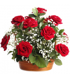 send 12 pcs. red color roses in basket to davao