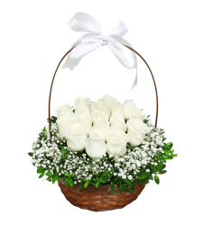 delivery 12 stems white roses in basket to davao